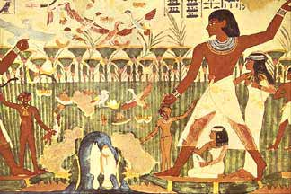 Awesome Egyptian Wall Painting In Tomb Of Nakht