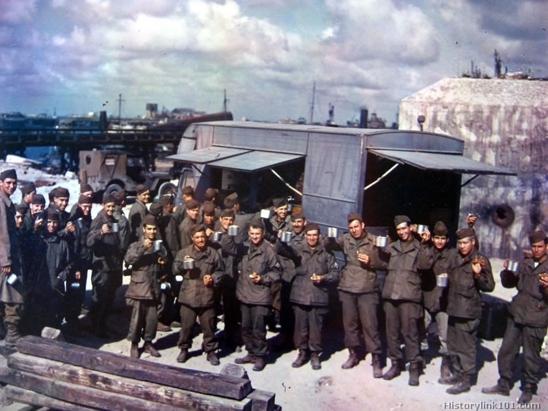 Color Pictures of Groups of Soldiers in World War II